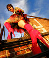 high heeled tattooed goth in high heels rooftop