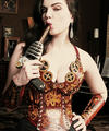 Steampunk babe Nicotine with vibrating ray gun