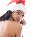 Santa babe with black nail polish and gun tattoo